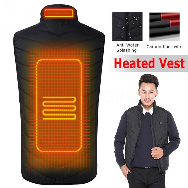 2018 Upgraded Men Outdoor USB Infrared Heating Vest Jacket Winter Carbon Fiber Electric Thermal Clothing Waistcoat