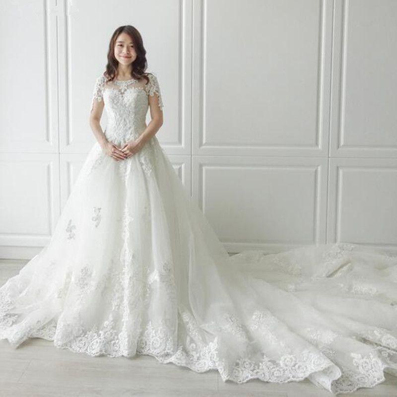 Sexy Oansatz kathedrale Zug Lange Zipper Cap Ärmel Perlen perle Spitze EINE Linie Strand Hochzeit Kleid Real Photo Brautkleid 2019