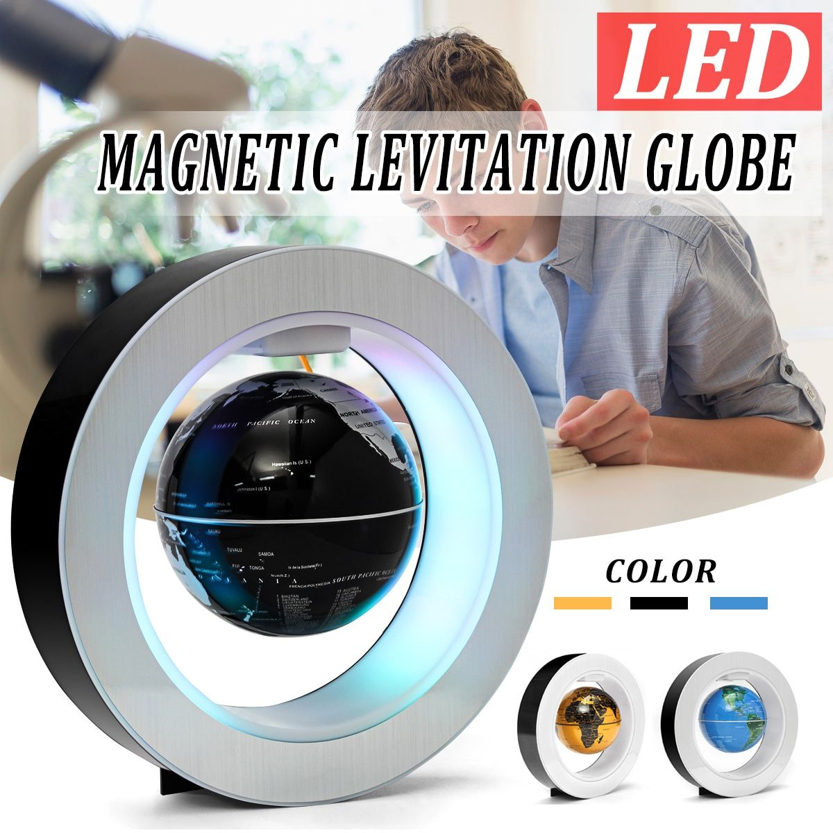LED World Map Novelty Magnetic Levitation Floating Globe Geography Tellurion With LED Light Home Decoration Office Ornament