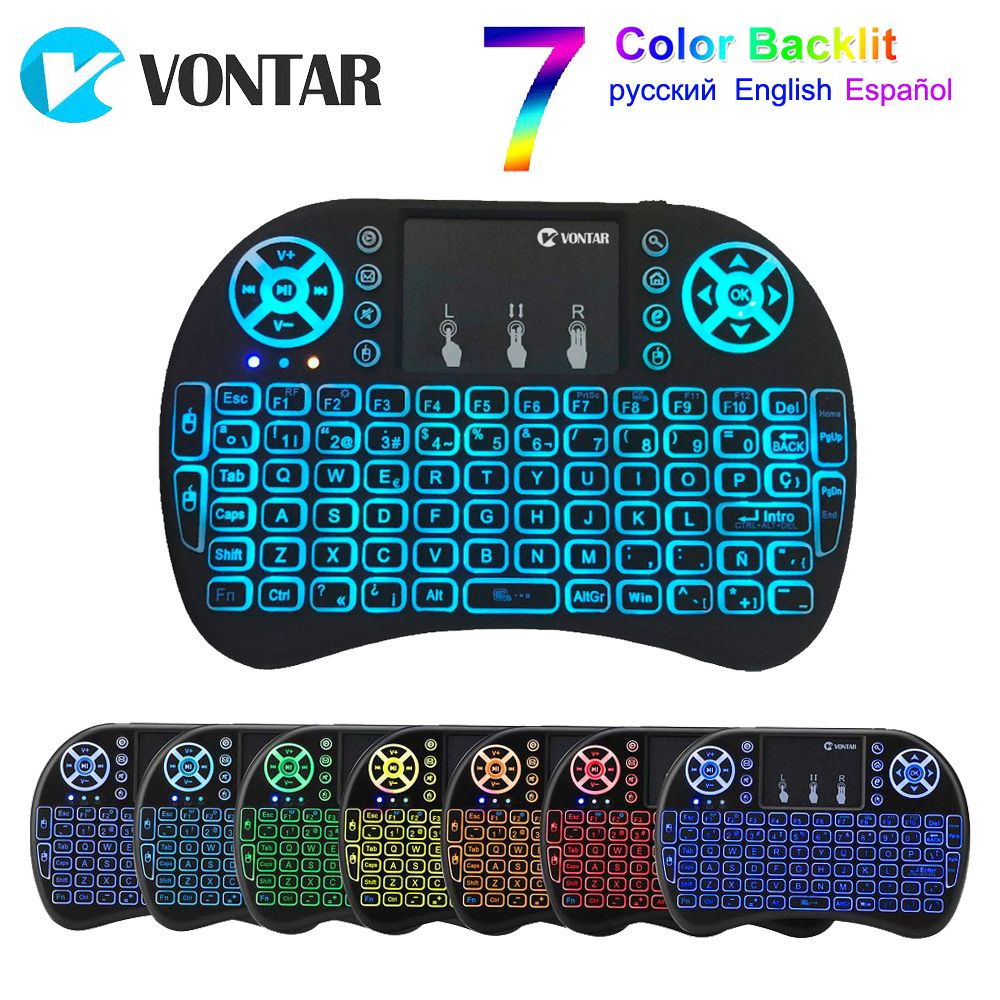 VONTAR i8 Backlight English Russian Spanish Air Mouse 2.4GHz Wireless Keyboard Touchpad Handheld for Android TV BOX X96 Max T95Q