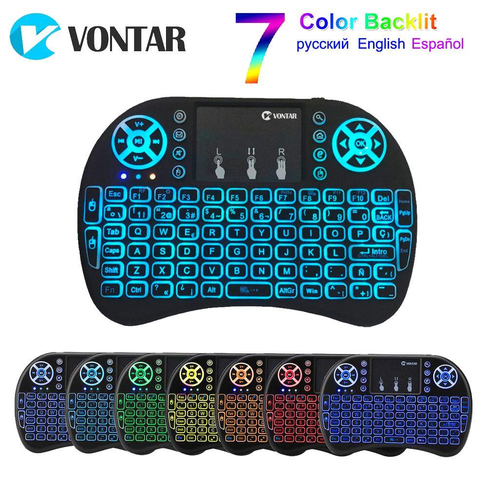 VONTAR i8 clavier rétro-éclairé anglais russe espagnol Air souris 2.4 GHz clavier sans fil Touchpad portable pour TV BOX Android X96