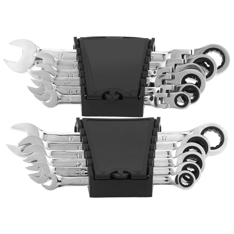 6pcs/set CRV Steel 72 Teeth Ratchet Wrench Set Dual Use Spanners Tools Kit Fixed / Movable Head