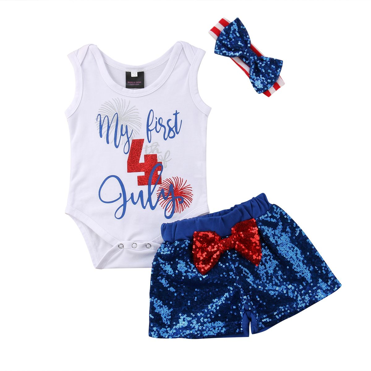 4th July Independence Day 3PCS Newborn Baby Girl Cotton Bodysuit Tops Sequins Bow Shorts Headband Outfits Clothes Set