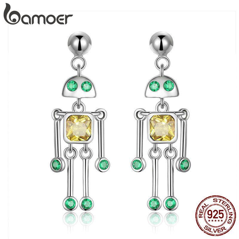 BAMOER Hohe Qualität 925 Sterling Silber Wenig Robot Drop Ohrringe für Frauen Grün Gelb CZ Sterling Silber Schmuck Geschenk SCE491