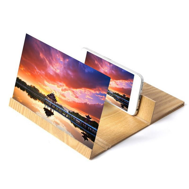 12inch Wooden Mobile Video Screen Magnifier High Definition Mobile Phone Screen Amplifier With Wood Grain Stand Anti-radiation