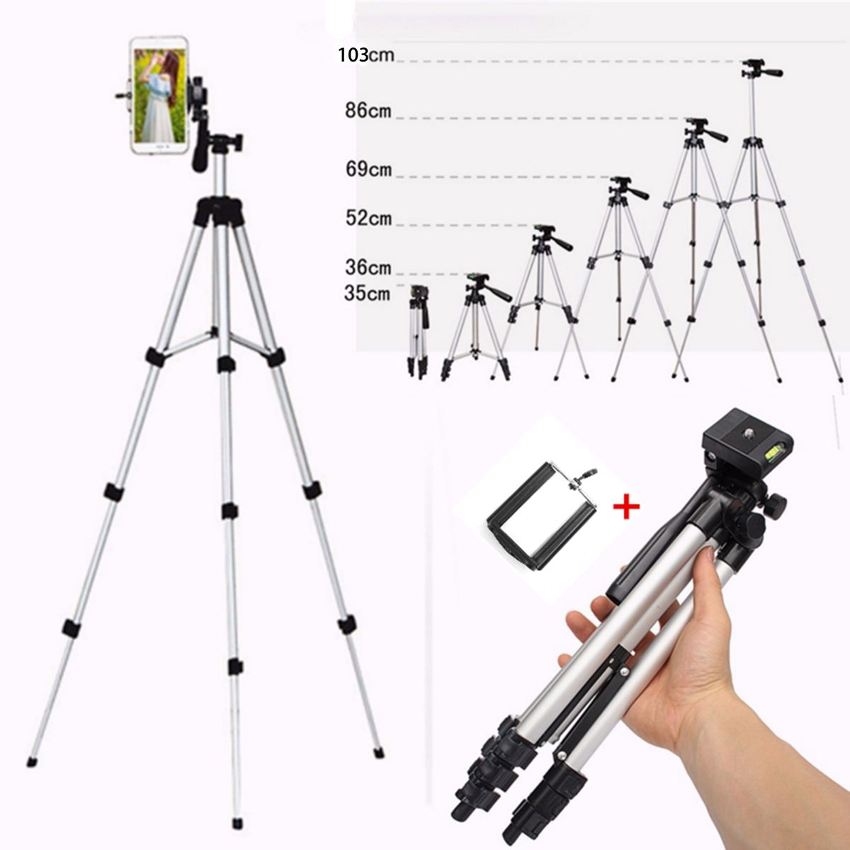 Extendable Mobile Smart Phone Digital Camera Tripod Stand Mount Holder Clip Set For Nikon for Canon for iPhone 6 6s 7