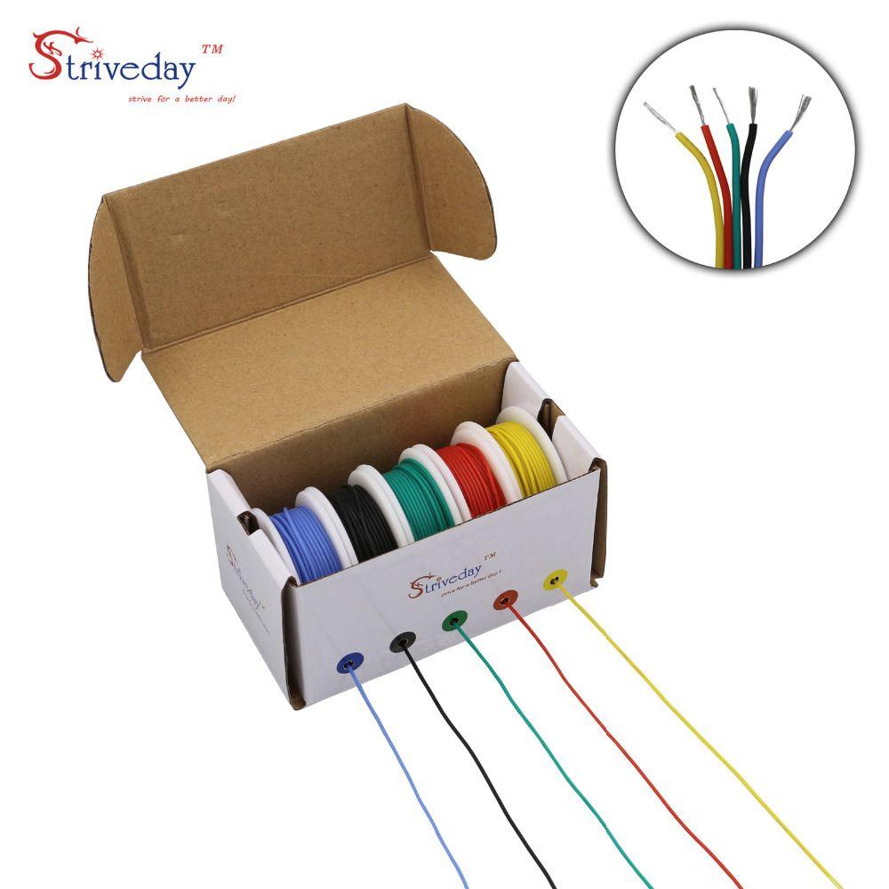 30AWG 50m Flexible silicone câble fil 5 couleur boîte de mélange 1 paquet fil électrique étamé cuivre bricolage