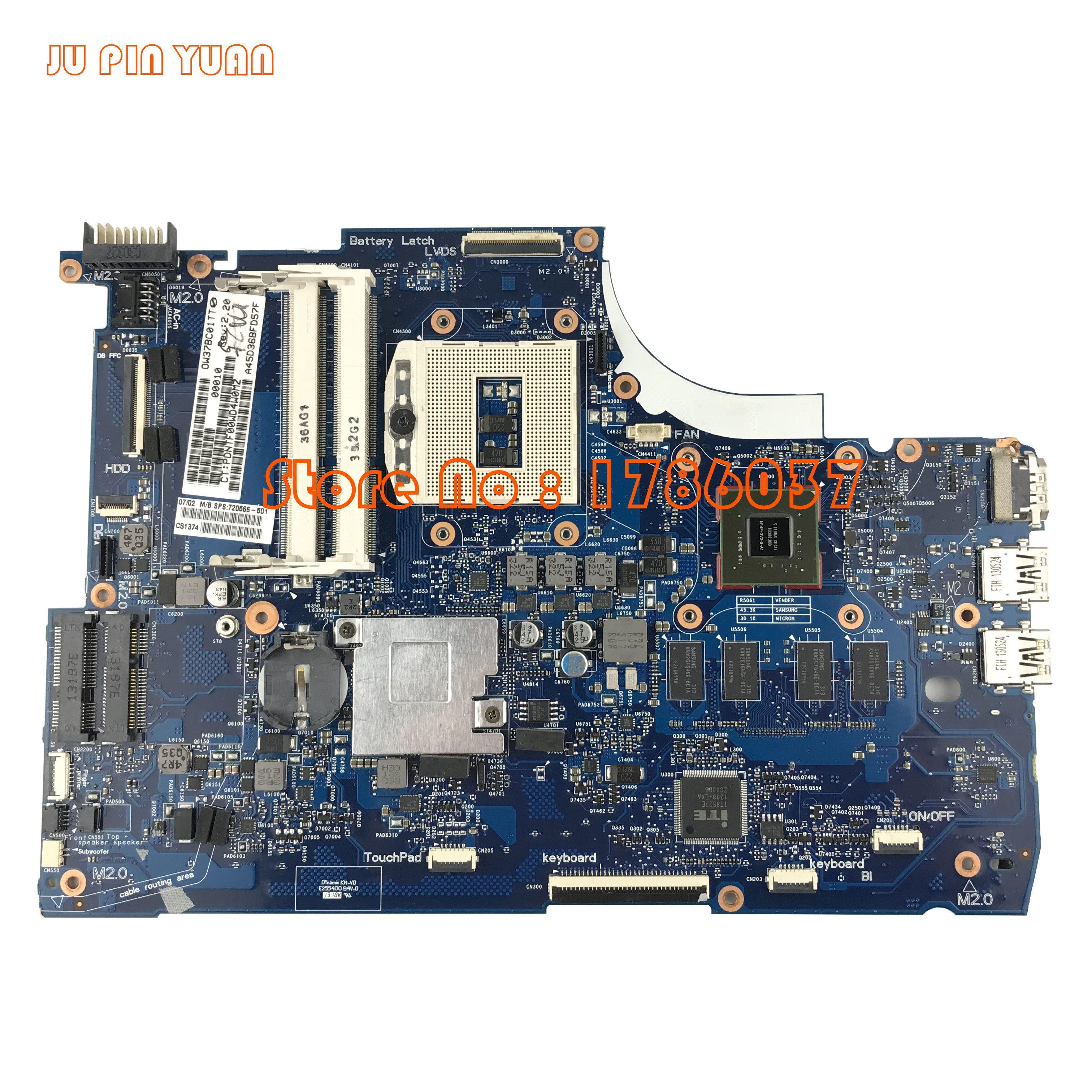 JU PIN YUAN 720566-501 720566-001 pour HP ENVY 15-J 15T-J série carte mère 740 M/2G HM87 toutes les fonctions 100% entièrement testé