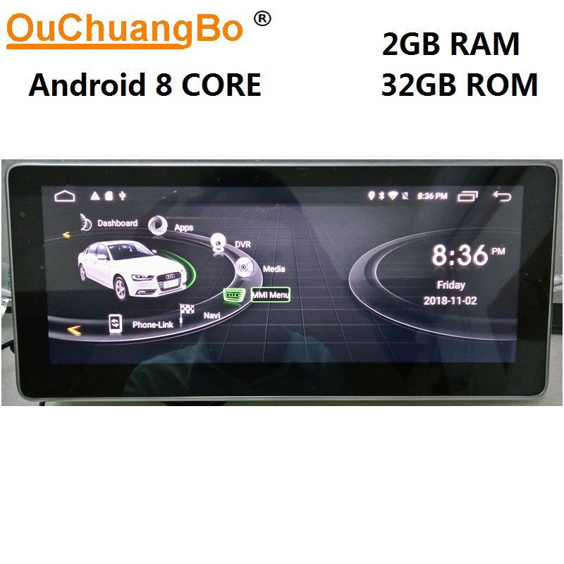 Ouchuangbo Android 8.1 gps navigation for Q5 A5 RS5 A4 b8 2009-2016 with 10.25 inch 1080P video 8 core 2GB+32GB Right driving