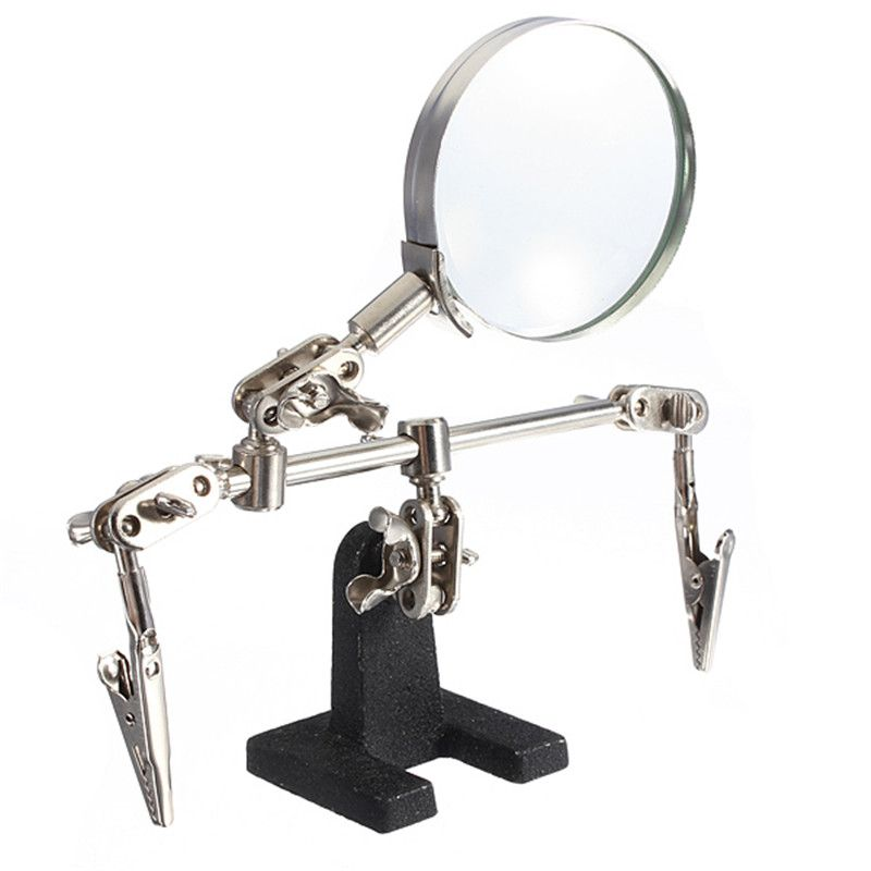 Helping Third Hand Tool Soldering Stand With 4X Welding Magnifying Glass led Adjustable 2 Alligator Clips 360 Degree Rotating