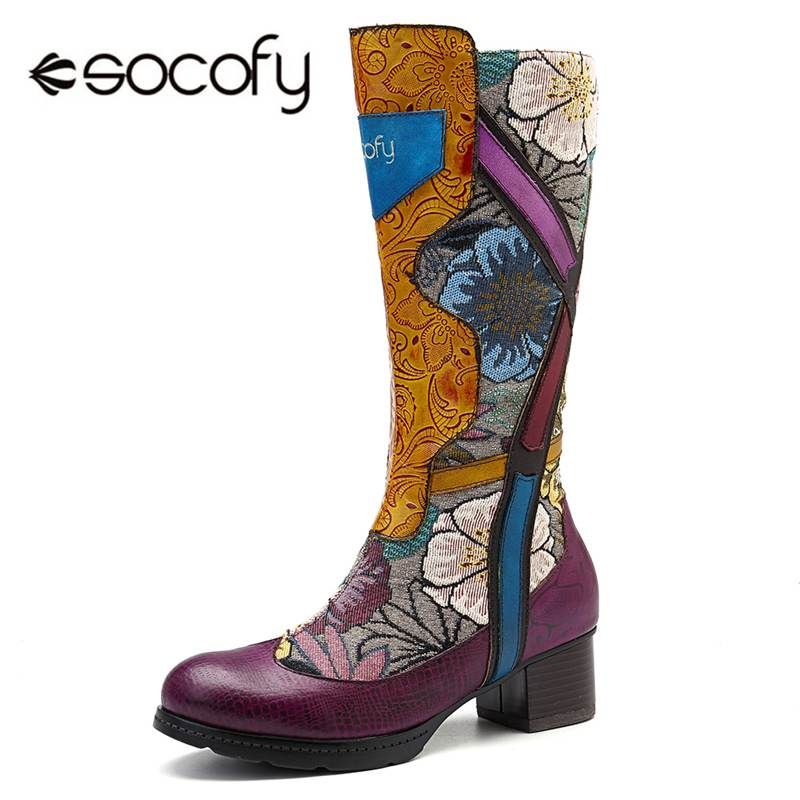Socofy Mode Retro Mid-kalb Stiefel Frauen Echtes Leder Gedruckt Blume Winter Stiefel Frauen Schuhe Frau Zipper Block Heels botas
