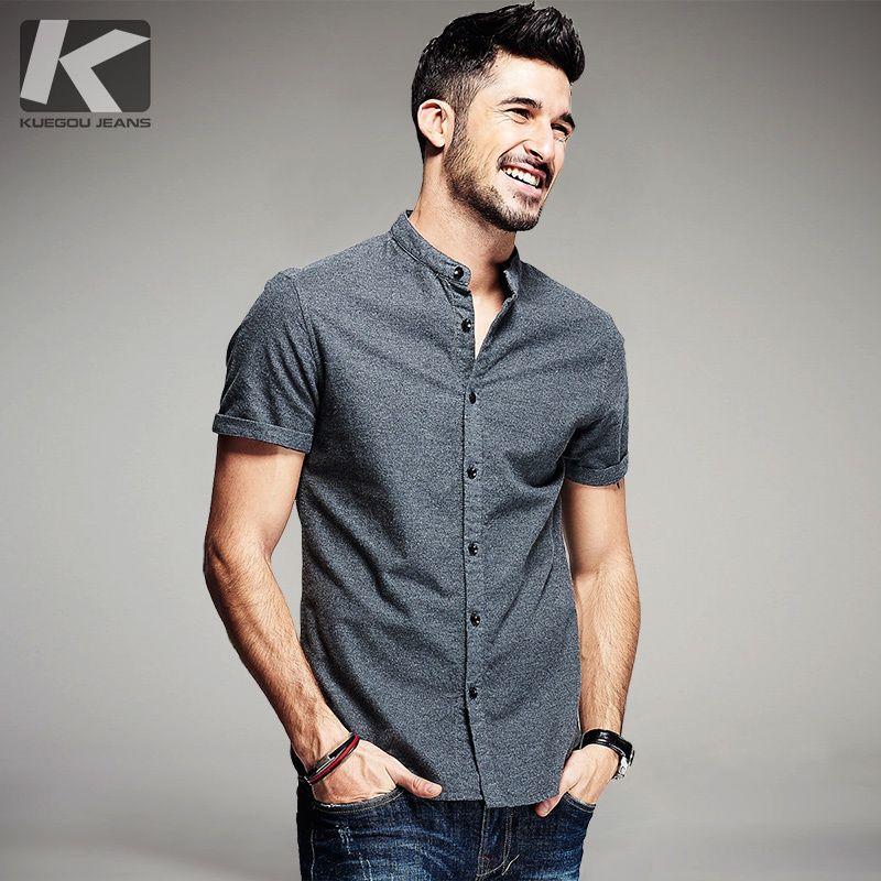 KUEGOU D'été Hommes Casual Chemises 100% Coton Gris Couleur Marque Vêtements Homme de Porter Slim Fit À Manches Courtes Vêtements Plus taille 5859