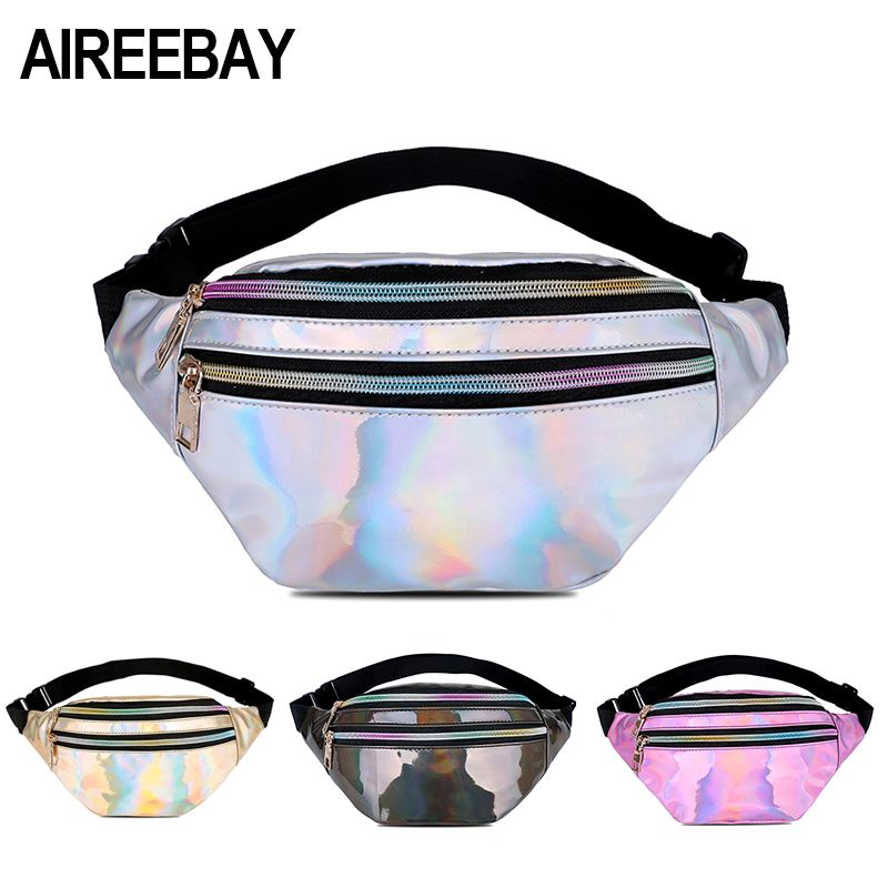 AIREEBAY Holographic Fanny Pack Women Silver Laser Bum Bag Travel Shiny Waist Bags Fashion Girls Pink Leather Hologram Hip Bag