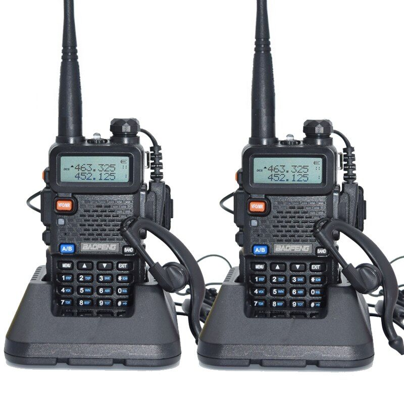 2 pcs Baofeng UV-5R Talkie Walkie 128 Double Bande UHF et VHF 136-174 mhz et 400-520 mhz Baofeng UV 5R Portable Radio 5 w Deux Way Radio