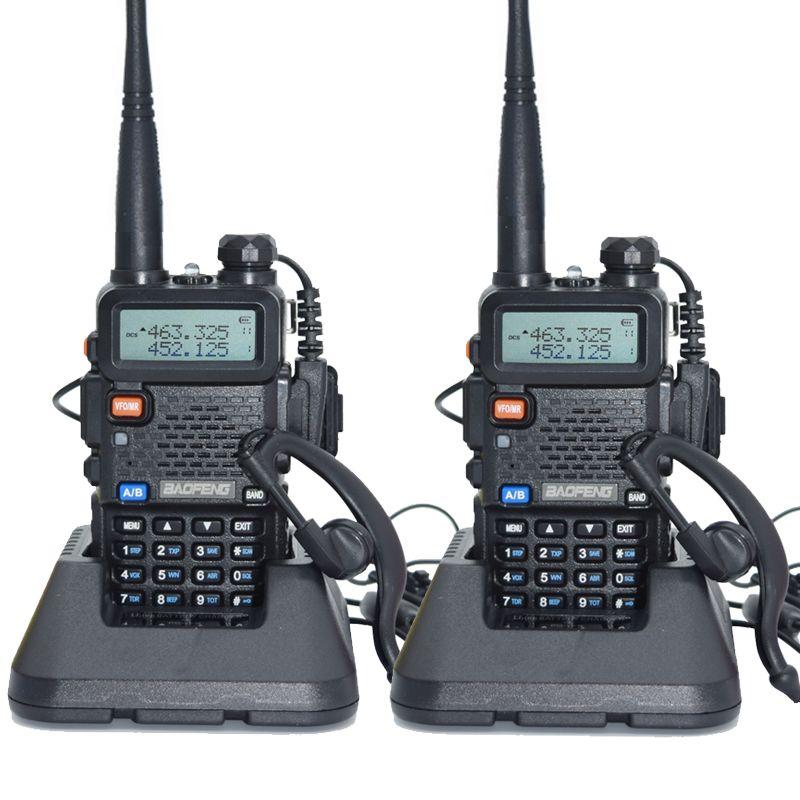 2 pièces Baofeng UV-5R Talkie Walkie 128 Double Bande UHF et VHF 136-174 MHz et 400-520 MHz Baofeng UV 5R Radio portable 5 W Deux Way Radio
