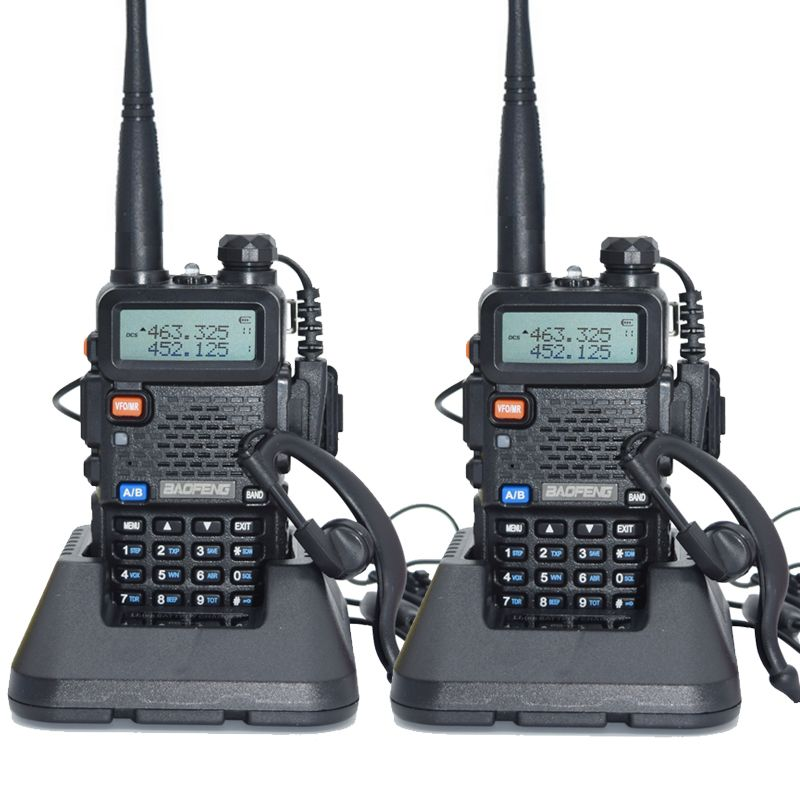 2 pièces Baofeng UV-5R talkie-walkie 128 double bande UHF & VHF 136-174 MHz & 400-520 MHz Baofeng UV 5R Radio Portable 5 W Radio bidirectionnelle