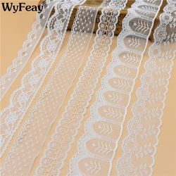 Красивая белая кружевная лента 10 ярдов, широкая французская африканская кружевная ткань, кружевная отделка для шитья аксессуаров, вышитая ...