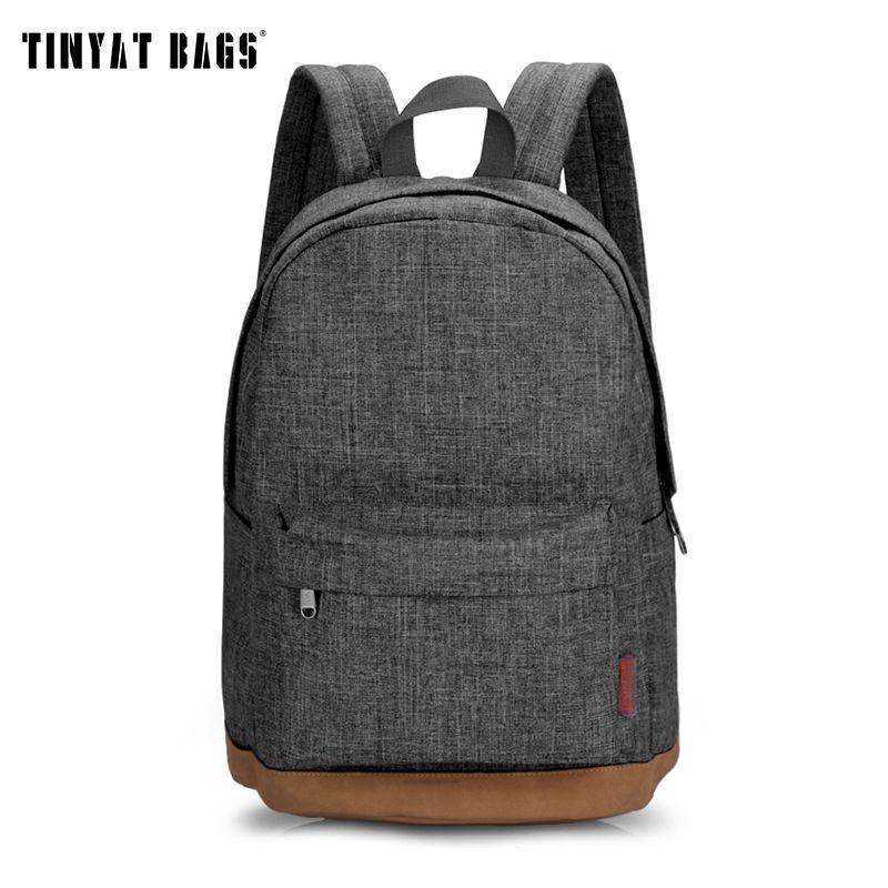 TINYAT hommes homme toile sac à dos gris décontracté sacs à dos 15 pouces sacs à dos d'ordinateur portable collège étudiant sac d'école sac à dos femmes Mochila