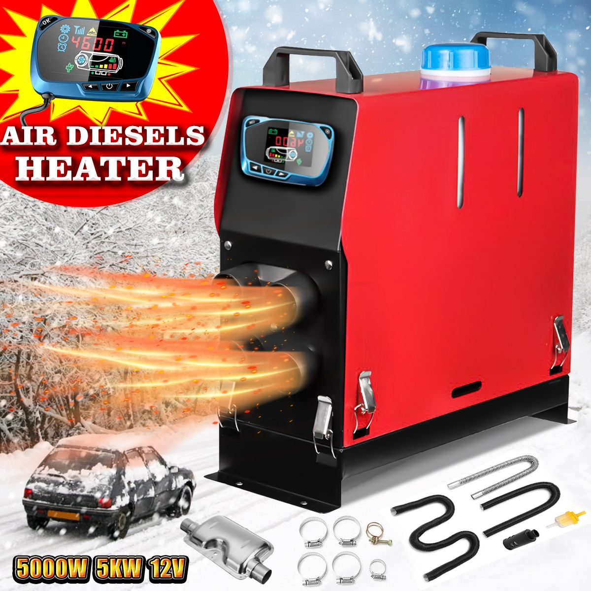 Car Heater 5KW 12VFor Trucks Motor-Homes Boats Bus +Newest LCD key Switch +Silencer 5000W Air Diesels Heater