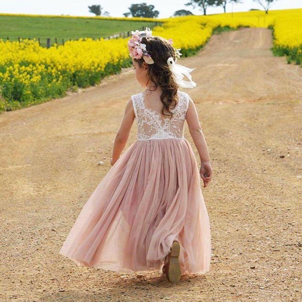 Enfant en bas âge enfants bébé filles robe fleur dentelle cou sans manches dos nu dos V Tulle robe de soirée demoiselle d'honneur robes de reconstitution historique
