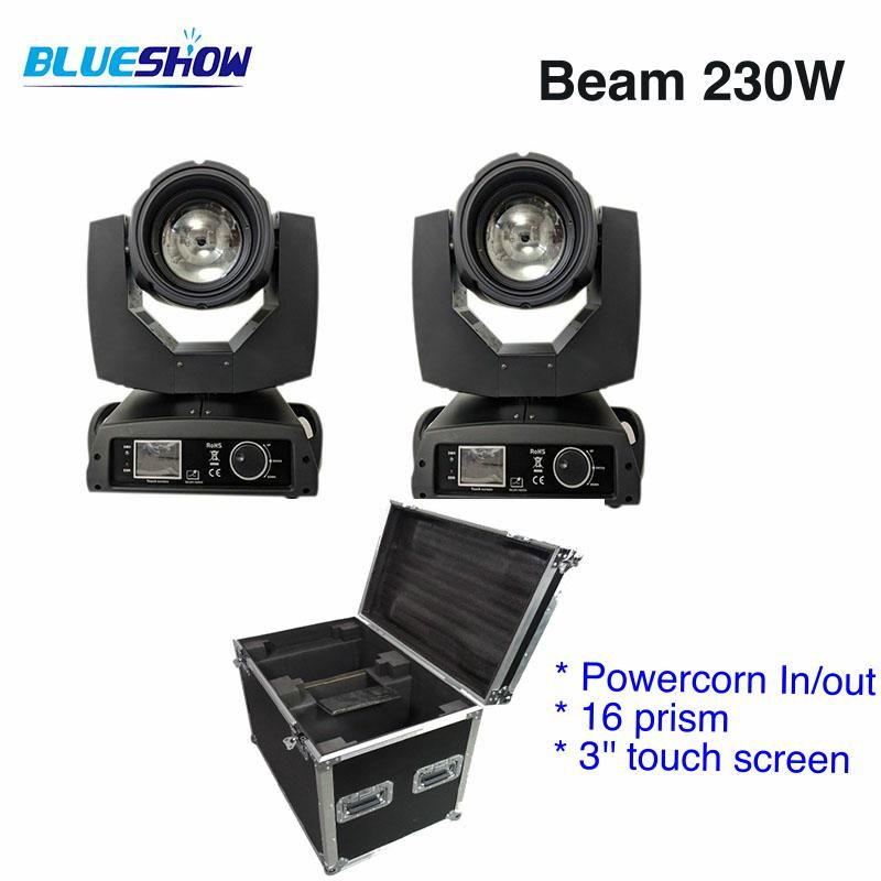2 lights+1 Flightcase, power corn 230W Sharpy 7R LED Beam Moving Head Light 16 prism DMX Stage Lighting Disco DJ Club party