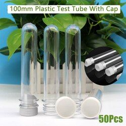 Kicute 50pcs/pack 12x100mm Transparent Laboratory Clear Transparent Plastic Test Tubes Vials With Push Caps School Lab Supplies