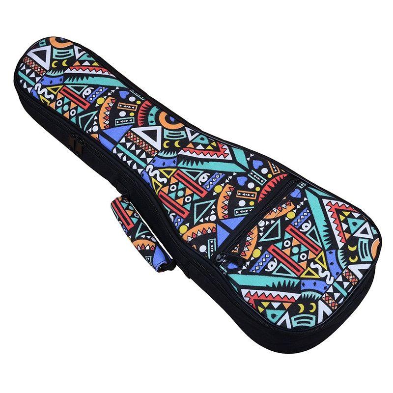 Double sangle main Folk ukulélé sac de transport coton rembourré étui pour ukulélé pièces de guitare accessoires, bleu-Graffiti