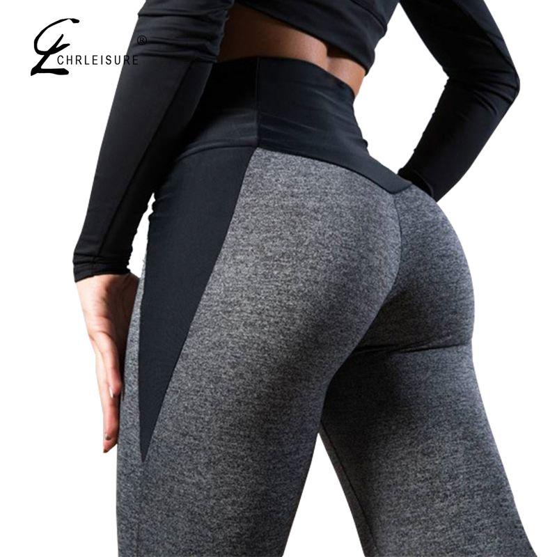CHRLEISURE Women Fitness Legging High Waist Push Up Women Leggings Femme Patchwork Polyester Leggins Feminina