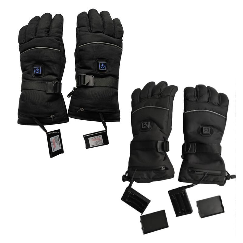 1 Pair Waterproof Heated Gloves Battery Powered For Motorcycle Hunting Winter Warmer ( Two Charging Boards, USB Charging Cable)