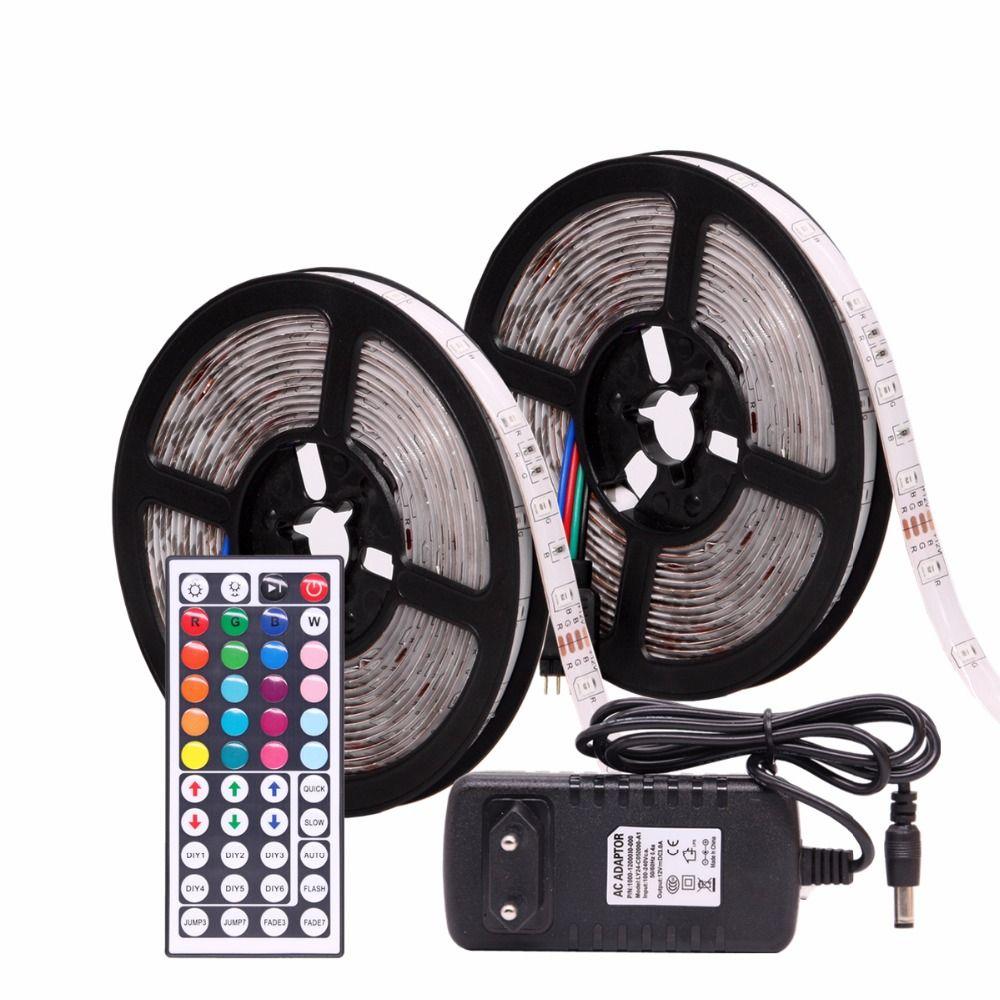 RGB LED bande étanche 2835 5 M 10 M DC12V Fita lumière LED bande néon LED 12 V bande Flexible LED bande avec contrôleur et adaptateur