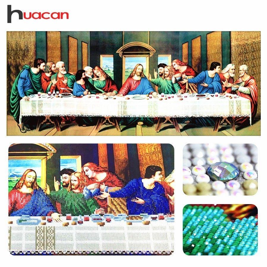 Huacan, forme spéciale, broderie diamant peinture, cène, religieux, 5D diamant mosaïque, point de croix, vacances, cadeau, décor mural