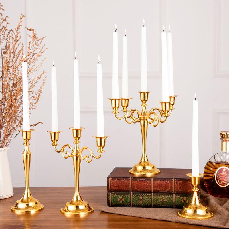 1 PC Antique rétro or chandeliers grand grand Bronze argent mariage candélabres Vintage métal romantique dîner bougeoirs
