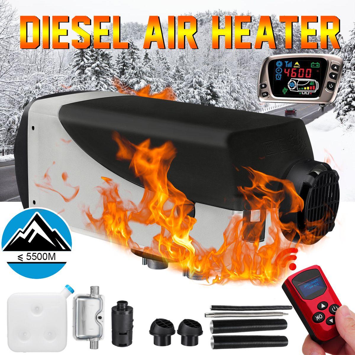 12 V 2kw Diesel Air Standheizung Air Heizung LCD Schalter + Schalldämpfer + Neue Fernbedienung Für Lkw Boote auto Anhänger Heizung