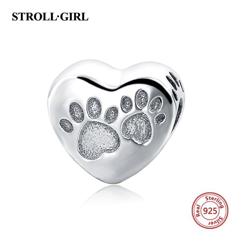 925 argent Sterling personnalisé coeur perle charme j'aime animaux de compagnie carlin perles Fit Pandora Bracelet Antique bijoux pour cadeaux