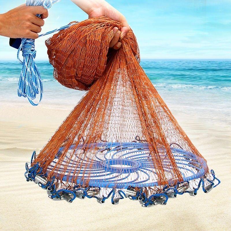 Verbesserte Fliegen Disc Amerikanische Hand Cast Fischernetz mit Blei Platinen Werfen Angeln Net Durchmesser 300 360 420 480 540 600 720 cm