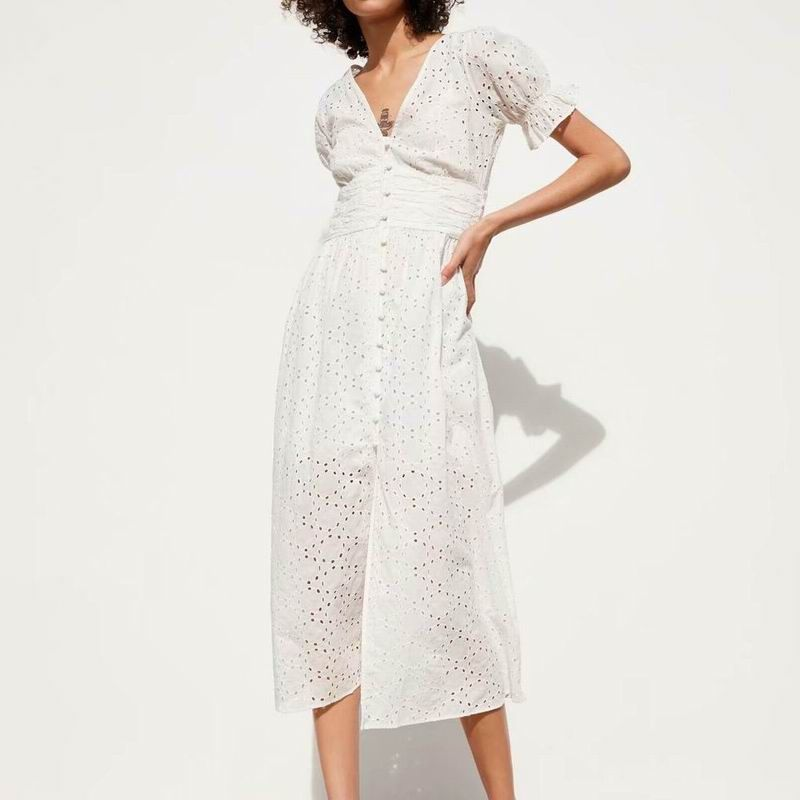 Femmes robe blanche coton évider broderie 2019 été nouvelle mode Slim dame mi-mollet gaine robes Feminino Vestidos