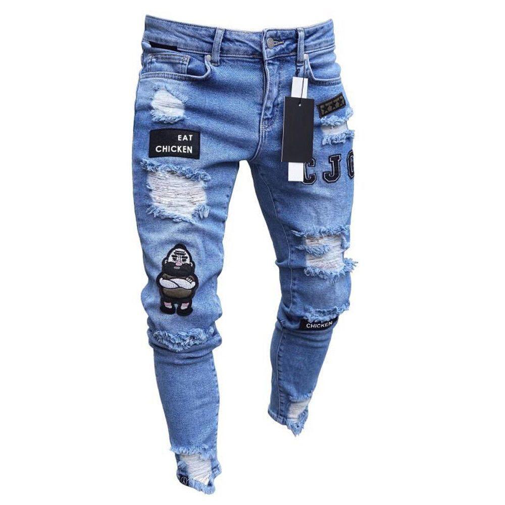 3 Styles hommes extensible déchiré Skinny Biker broderie impression Jeans détruit trou scotché Slim Fit Denim rayé de haute qualité Jean
