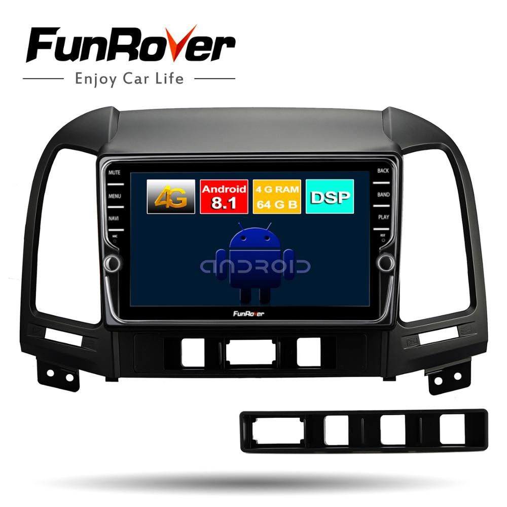 Funrover android8.1 2 din auto dvd-multimedia-player Für Hyundai Santa Fe 2005-2012 gps navigation auto radio band recorder 4G + 64G