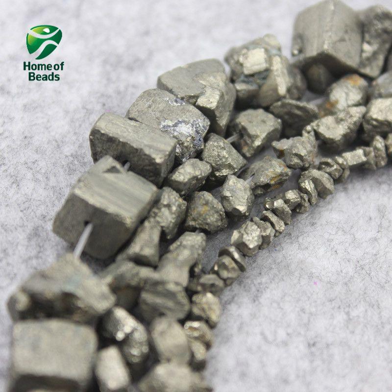 Perles de Pyrite en pierre naturelle formes aléatoires 4 6 7 12 MM tailles (vente par brin) HTK1001