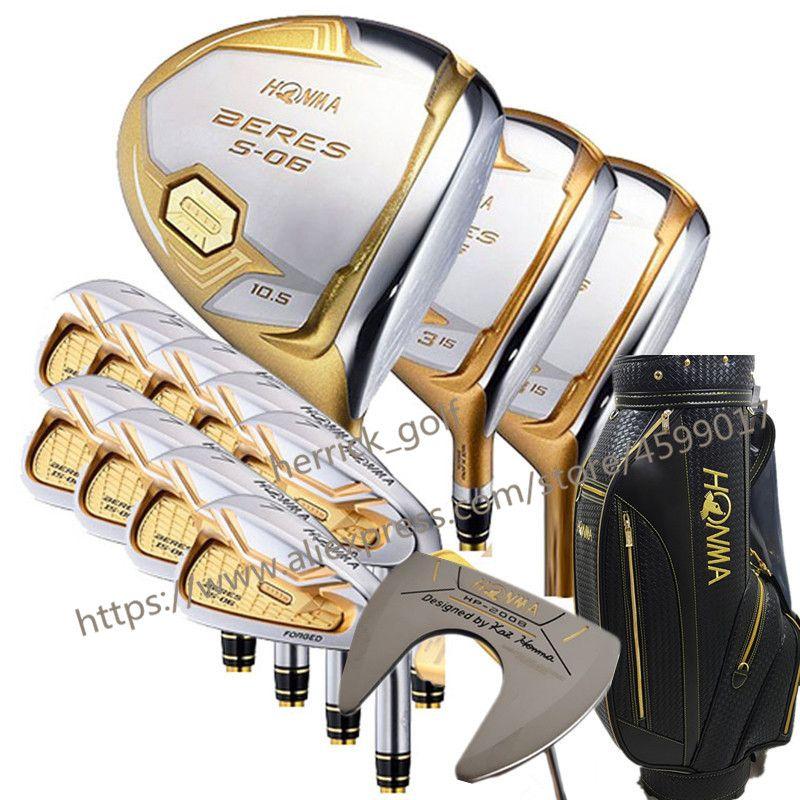 Neue Golf club HONMA S-06 4 sterne Golf komplette clubs Fahrer + fairway holz + eisen + putter graphit welle abdeckung tasche