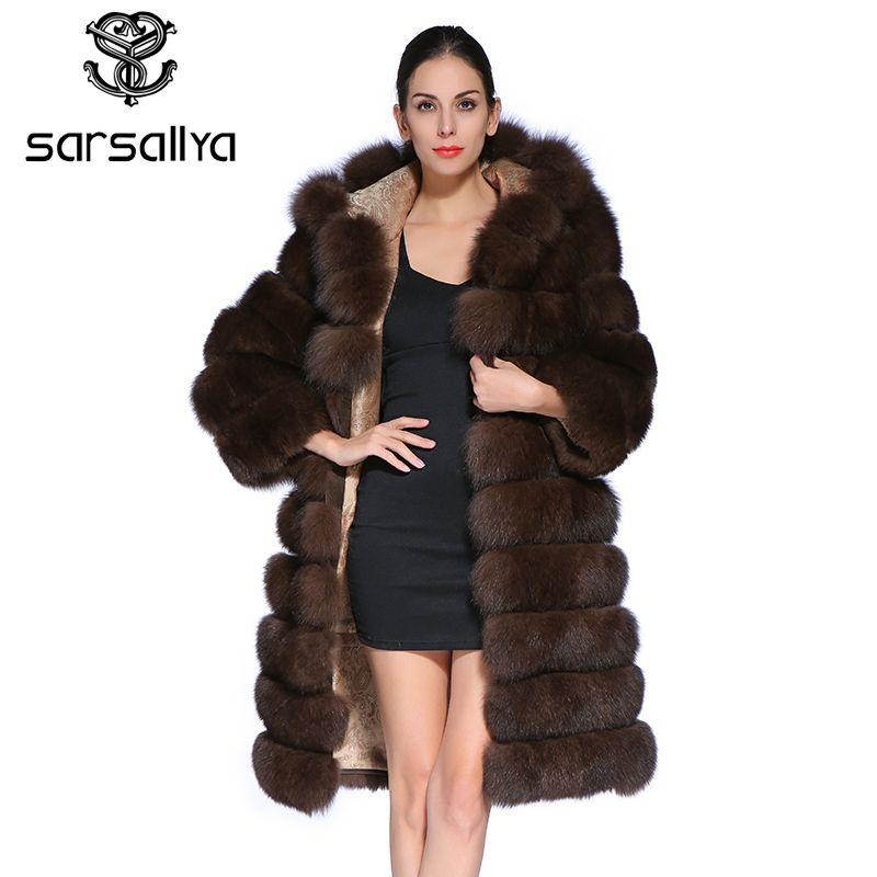 SARSALLYA New Fashion Detachable Sleeve Coat Real Genuine Natural Blue Fox Fur Long Coats Jacket for Women Winter Vest Gilet