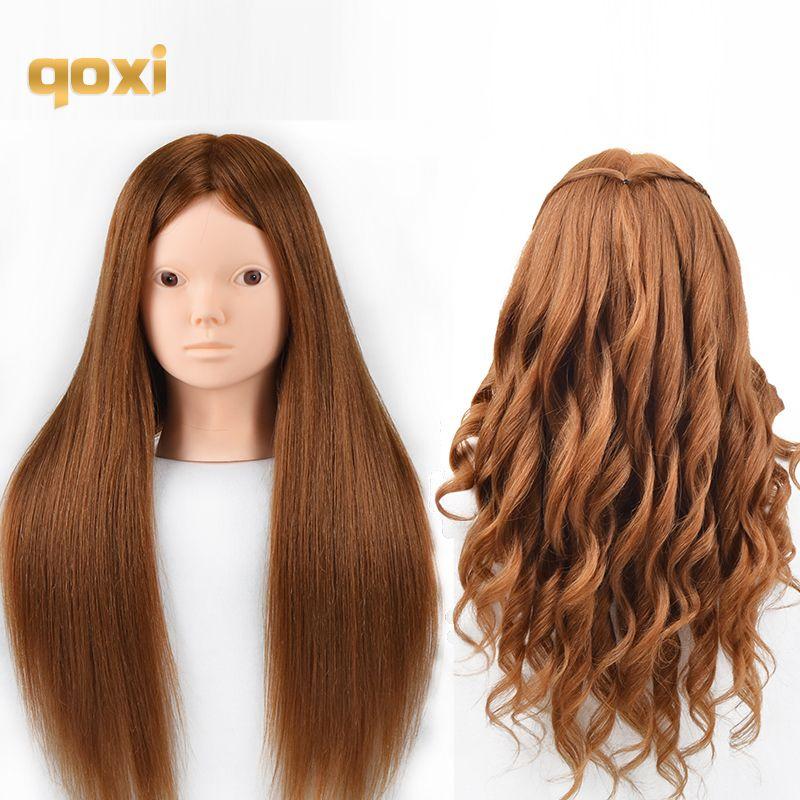 Qoxi Professionelle ausbildung köpfe mit 60% echte menschliche haare kann gekräuselt werden praxis Friseur mannequin make-up Styling puppen