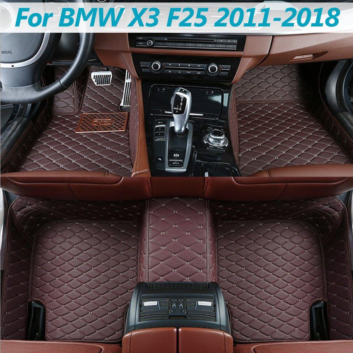 Auto Leder Vorne Hinten Fußmatten Set Liner Wasserdichte 5 Sitz Matte Für BMW X3 F25 2011 2012 2013 2014 2015 2016 2017 2018