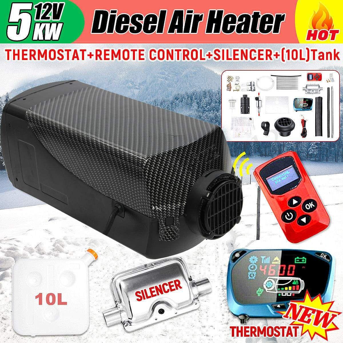 5000 W Air diesel Heizung 5KW 12 V Singal Loch Auto Heizung Für Lkw Motor-Home Boote Bus + LCD schlüssel Schalter + Schalldämpfer + Fernbedienung