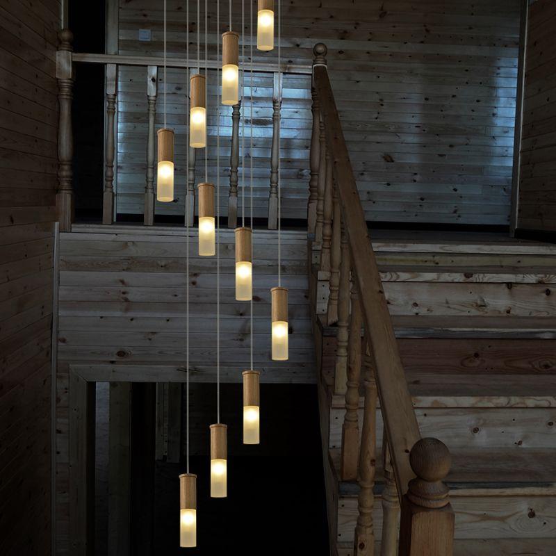 2,5-5 mt lange holz treppen lampen spirale led Stairway kronleuchter beleuchtung Suspension Leuchte moderne treppenhaus meteor dusche Lampen