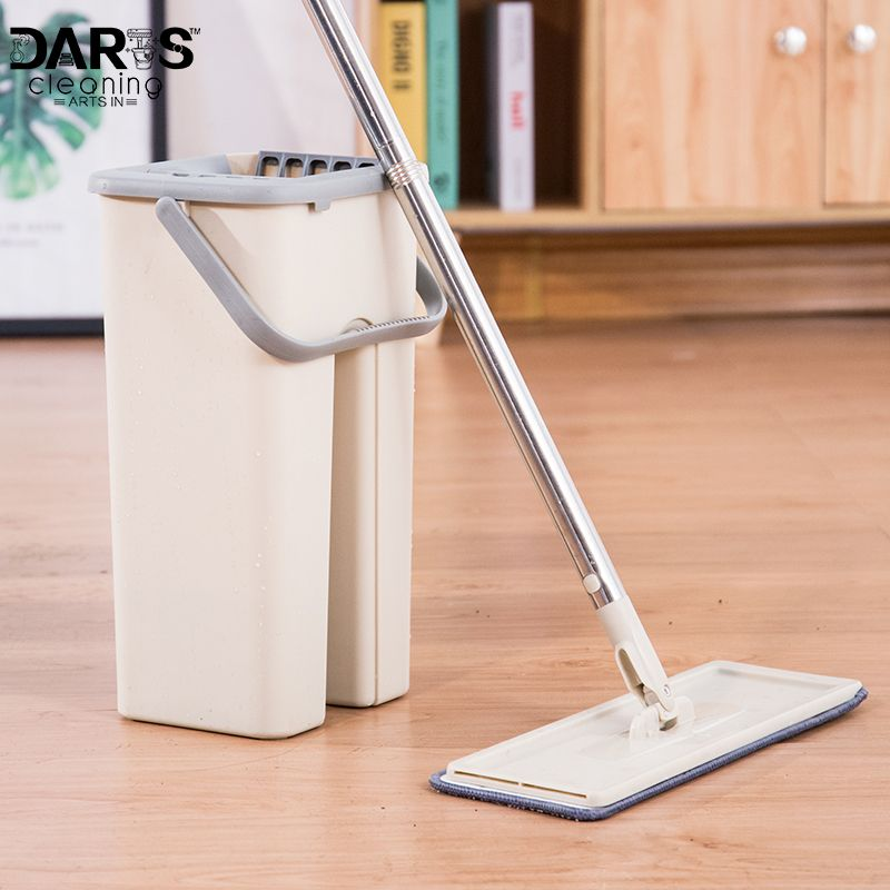 House Floor Cleaning Mop Bucket System Stainless Free Wringing Microfiber Mop Pads Wet or Dry Usage on Hardwood Laminate Tile