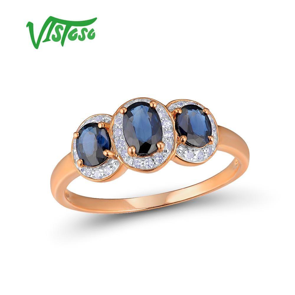 VISTOSO Gold Ringe Für Frauen Echte 14 karat 585 Rose Gold Ring Funkelnden Diamant Blau Sapphire Engagement Jahrestag Edlen Schmuck