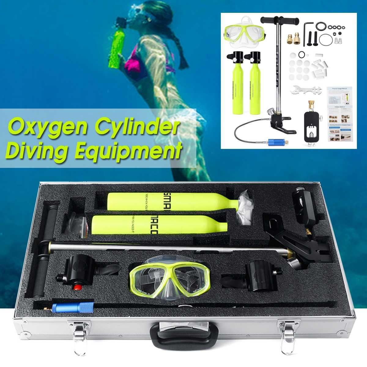 9 in1 Tauchen Ausrüstung Zwei Sauerstoff Zylinder Air Tank Mini Scuba Ersatz Tank Atmen Regler Getriebe Freiheit Atem Unterwasser