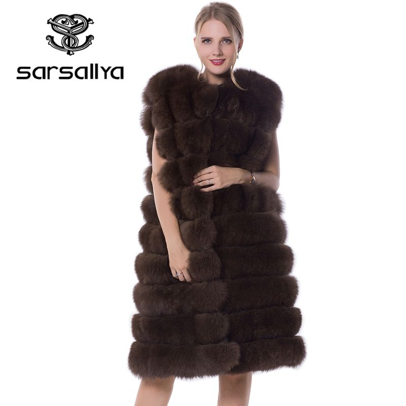 SARSALLYA Real Fox Fur Coat 90cm Style Thick Fur Vest Sleeveless Outwear Fox Fur Vest Fashion Winter Coat Natural Real Fur Coat