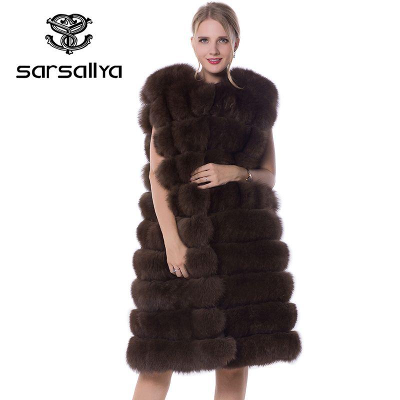 SARSALLYA Real Fox Fur Coat 90cm Style Thick Fur Vest Sleeveless Outwear Fox Fur Vest Fashion Winter Coat Natural Real Fur Coat